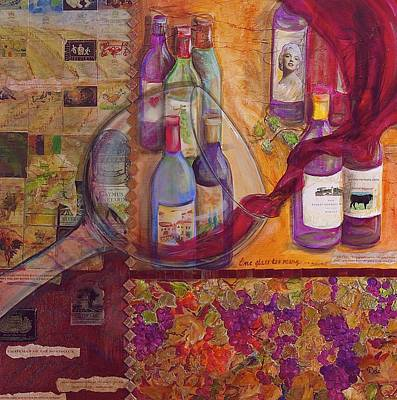 Wine Cellar Mixed Media - One Glass Too Many - Cabernet by Debi Starr
