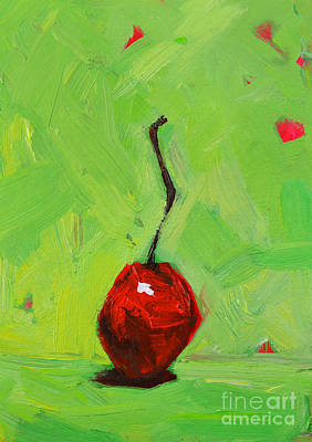 Foodie Painting - One Little Cherry - Modern Art by Patricia Awapara
