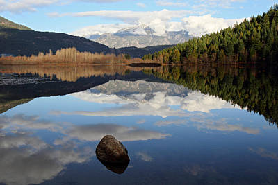 One Mile Lake One Rock Reflection Pemberton B.c Canada Print by Pierre Leclerc Photography