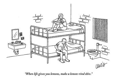 Lemon Drawing - One Prisoner Sitting On The Top Of A Bunk Bed by Eric Lewis