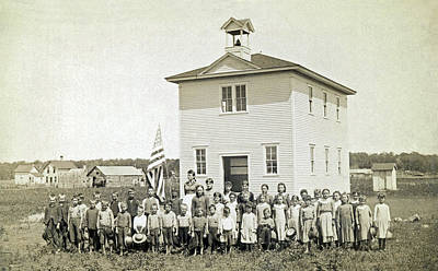 One Room School Photograph - One Room Schoolhouse by Underwood Archives