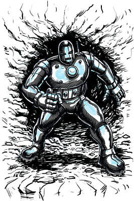 Marvel Drawing - One Small Step For Iron Man by John Ashton Golden