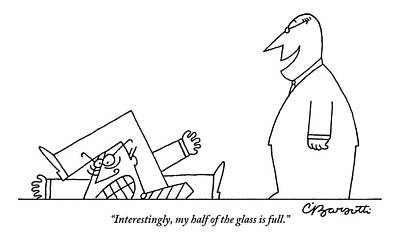 Glass Drawing - One Smiling Executive Speaks To Another Who by Charles Barsotti