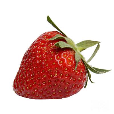 Red Fruit Photograph - One Strawberry by Bernard Jaubert