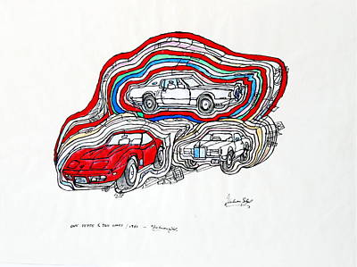 Continental Art Mixed Media - One Vette And Two Lincs by Dietmar Scherf