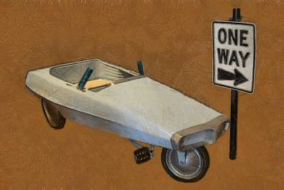 Childs Bedroom Art Digital Art - One Way Pedal Car by Michelle Calkins
