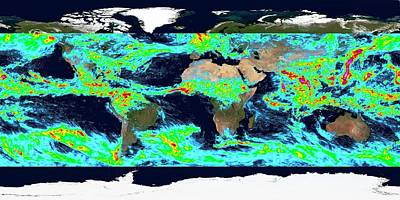 One Week Accumulated Global Precipitation Print by Nasa's Scientific Visualization Studio