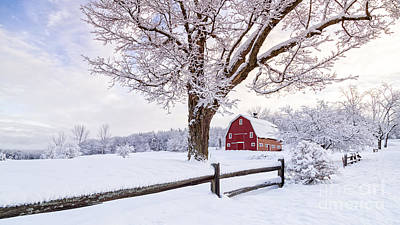 Red Barn. New England Photograph - One Winter Morning On The Farm by Edward Fielding
