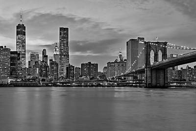 New York City Skyline Photograph - One World Trade Center And The Brooklyn Bridge Bw by Susan Candelario