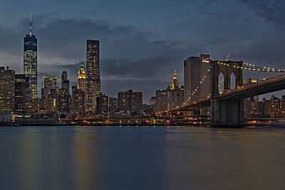 One World Trade Center And The Brooklyn Bridge Print by Susan Candelario