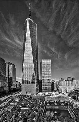 United States Of America Photograph - One World Trade Center Reflecting Pools Bw by Susan Candelario