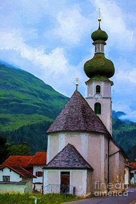 Mountain Valley Painting - Onion Domed Church - Austria Mountain Village by Gary Whitton