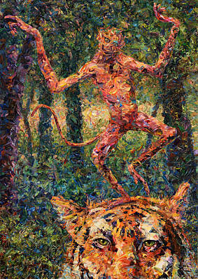 Jungle Cat Painting - Only A Crazy Monkey Dances On A Tiger's Head by James W Johnson
