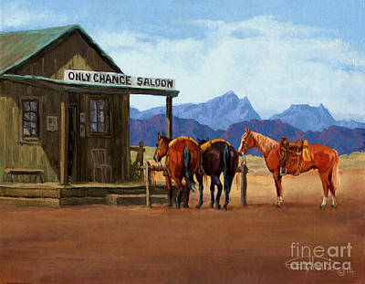 Beer Oil Painting - Only Chance Saloon by Randy Follis