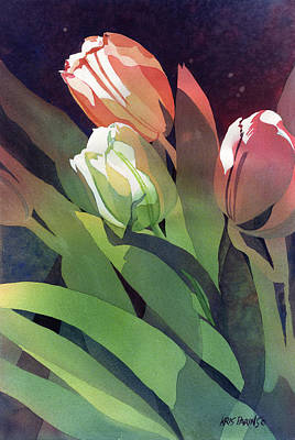 Spring Bulbs Painting - Only Three Tulips by Kris Parins