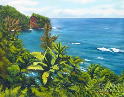 Onomea Bay Hilo Hawaii Original by Rosemarie Morelli