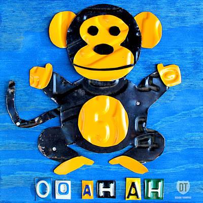 Oo Ah Ah The Monkey License Plate Art Print by Design Turnpike