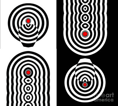 Concentration Digital Art - Op Art Geometric Black White Red Abstract Print No.11 by Drinka Mercep