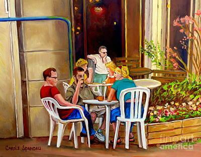Open Air Cafe Parisian Style Bistro-rue St Denis Montreal Cafe Paintings Carole Spandau Print by Carole Spandau