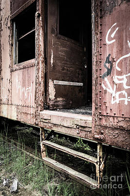 Train Photograph - Open Door Of An Abandoned Train Car by Edward Fielding