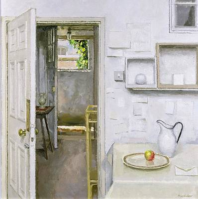 Open Doors With Still Life And Letter, 2004 Oil On Canvas Print by Charles E. Hardaker