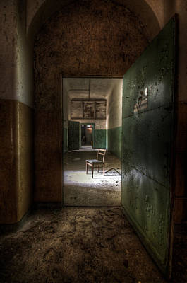 Empty Chairs Digital Art - Open Green Door by Nathan Wright