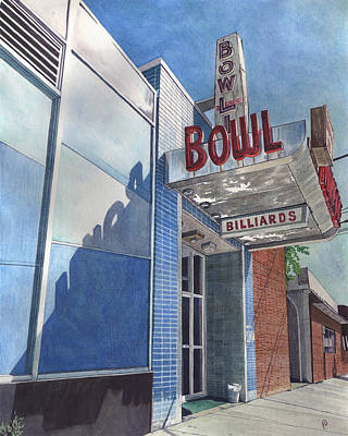 Bowling Alley Painting - Open Lanes by Paige Wallis