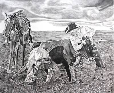 Steer Drawing - Open Practice by Randy Mitchell