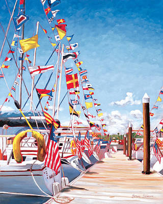 Harbor Painting - Opening Day by Steve Simon