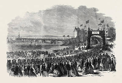 Opening Of The Pier At Clevedon Somersetshire Uk 1869 Print by English School