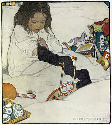 Bed Painting - Opening The Christmas Stocking by Jessie Willcox Smith
