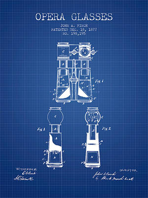 Binoculars Drawing - Opera Glasses Patent From 1877 - Blueprint by Aged Pixel