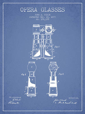 Binoculars Drawing - Opera Glasses Patent From 1877 - Light Blue by Aged Pixel