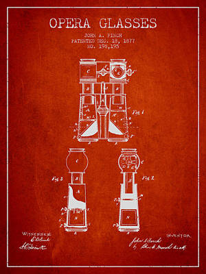 Opera Glasses Patent From 1877 - Red Print by Aged Pixel