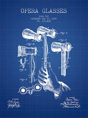 Opera Glasses Patent From 1888 - Blueprint Print by Aged Pixel