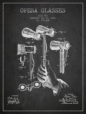 Opera Glasses Patent From 1888 - Dark Print by Aged Pixel