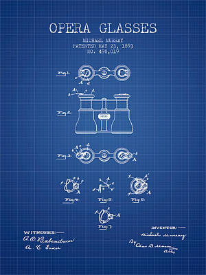 Opera Glasses Patent From 1893 - Blueprint Print by Aged Pixel