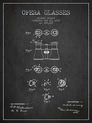 Opera Glasses Patent From 1893 - Dark Print by Aged Pixel