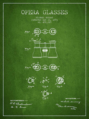 Opera Glasses Patent From 1893 - Green Print by Aged Pixel