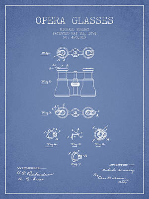 Opera Glasses Patent From 1893 - Light Blue Print by Aged Pixel