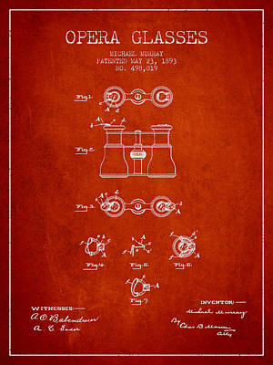 Opera Glasses Patent From 1893 - Red Print by Aged Pixel