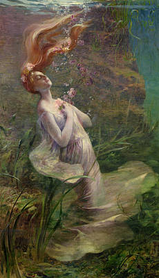 Ophelia Drowning Print by Paul Albert Steck