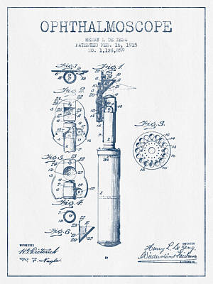 Ophthalmoscope Patent From 1915- Blue Ink Print by Aged Pixel