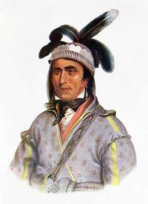 Headdress Photograph - Opothle-yoholo, A Creek Chief, 1825, Illustration From The Indian Tribes Of North America, Vol.2 by Charles Bird King