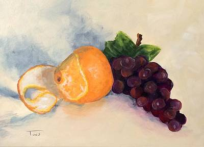 Still Life Painting - Orange And Grapes by Torrie Smiley