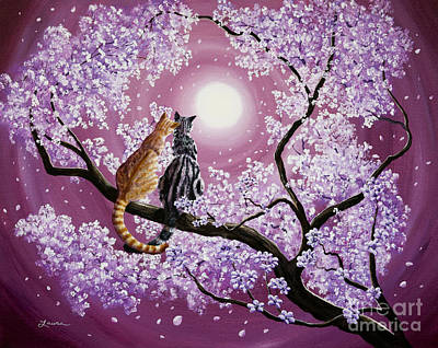 Moon Painting - Orange And Gray Tabby Cats In Cherry Blossoms by Laura Iverson