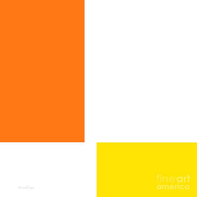 Minimal Digital Art - Orange And Lemon Square by Andee Design