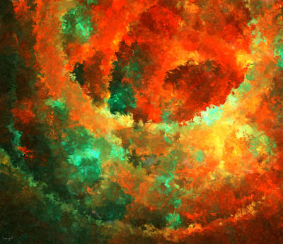 Red Abstract Digital Art - Orange And The Green by Lourry Legarde