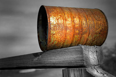 Pop Can Photograph - Orange Appeal - Rusty Old Can by Gary Heller
