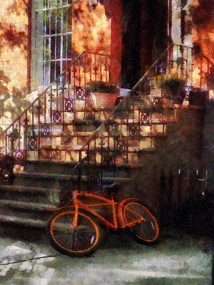 Cycling Photograph - Orange Bicycle By Brownstone by Susan Savad